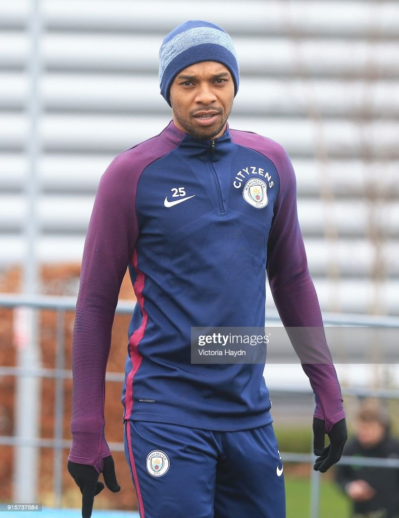 Fernandinho reacts as he walsk to training at Manchester City Football Academy on February 8, 2018 in Manchester, England.