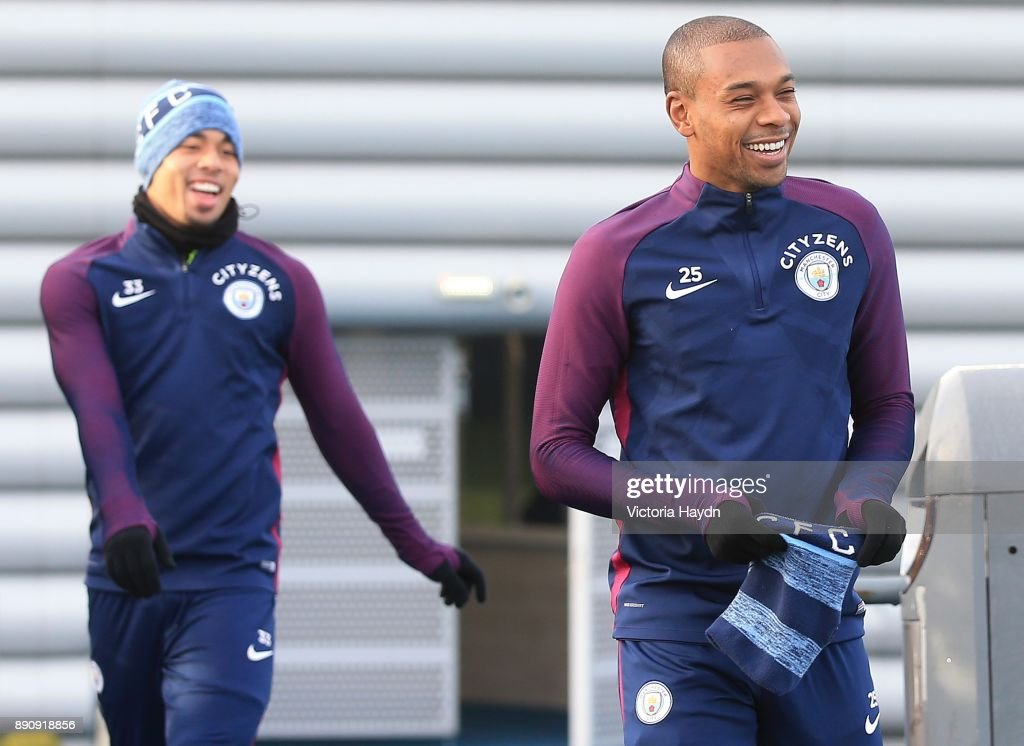 Fernandinho reacts during training at Manchester City Football Academy on December 12, 2017 in Manchester, England.