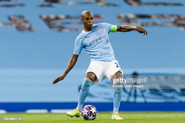 Fernandinho Roza of Manchester City looks to bring the ball down during the UEFA Champions League round of 16 second leg match between Manchester...