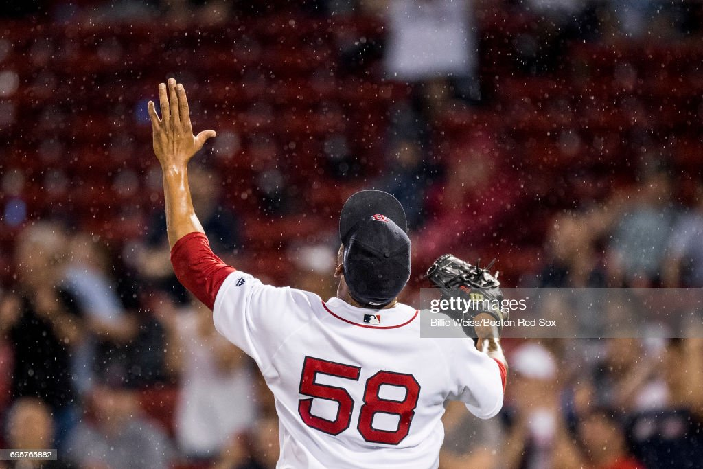 Fernando Abad #58 of the Boston Red Sox reacts during the eleventh inning of a game against the Philadelphia Phillies on June 13, 2017 at Fenway Park in Boston, Massachusetts.