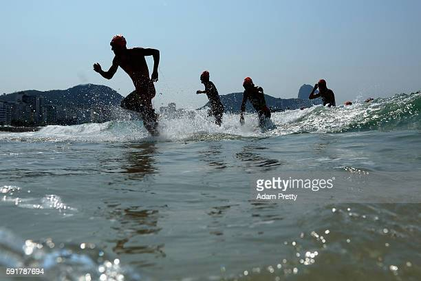 Fernando Alarza of Spain leaves the water during the Men's Triathlon at Fort Copacabana on Day 13 of the 2016 Rio Olympic Games on August 18, 2016 in...