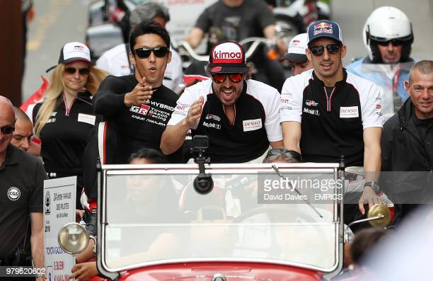 Fernando Alonso and team mates on the drivers parade Le Mans 24 Hours Race BuildUp Le Mans
