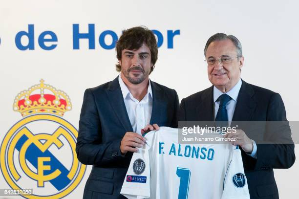 Fernando Alonso attends to be Named Honour Member of Real Madrid at Santiago Bernabeu Stadium on September 4 2017 in Madrid Spain