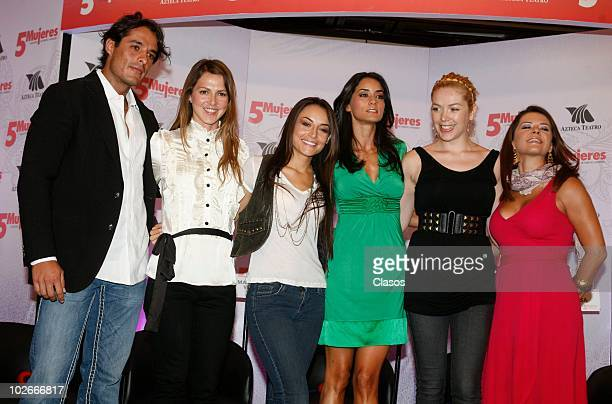 Fernando Alonso Cecilia Ponce Marimar Vega Paola Nunez Erika de la Rosa and Griselda Contreras pose for a photo during a press conference to announce...
