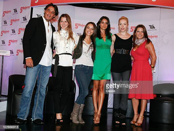 Fernando Alonso, Cecilia Ponce, Marimar Vega, Paola Nunez, Erika de la Rosa and Griselda Contreras pose for a photo during a press conference to...