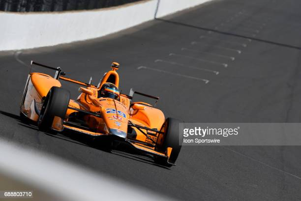 Fernando Alonso driver of the McLarenHondaAndretti Honda dives into turn one during the final practice session for the Indianapolis 500 on May 26 at...