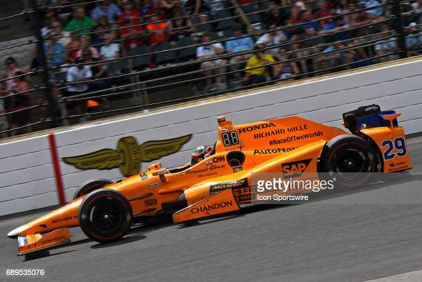 Fernando Alonso driver of the McLarenHondaAndretti Honda heads into turn one during the Indianapolis 500 on May 28th at the Indianapolis Motor...