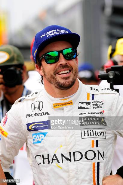Fernando Alonso driver of the McLarenHondaAndretti Honda looks on during qualifying for the Indianapolis 500 on May 20 at the Indianapolis Motor...
