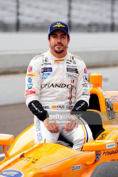 Fernando Alonso driver of the McLarenHondaAndretti Honda poses for a photo after the qualifying session for the Indianapolis 500 on May 20 at the...