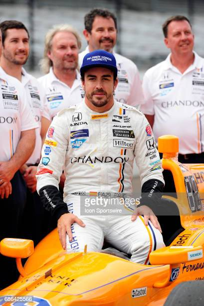 Fernando Alonso driver of the McLarenHondaAndretti Honda poses for a photo after qualifying for the Indianapolis 500 on May 20 at the Indianapolis...