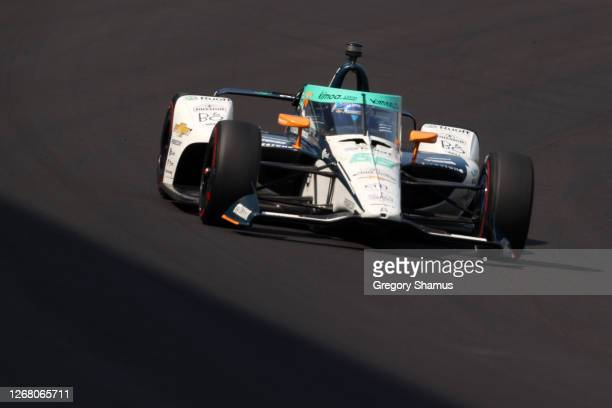 Fernando Alonso, driver of the Ruoff Arrow McLaren SP Chevrolet, races during the 104th running of the Indianapolis 500 at Indianapolis Motor...