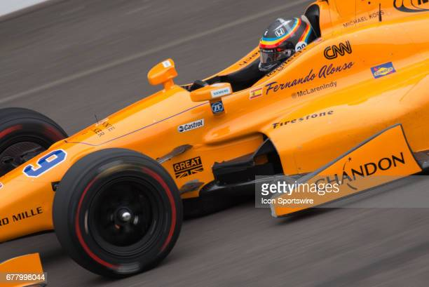 Fernando Alonso during his first test on May 03 at the Indianapolis Motor Speedway in Speedway Indiana