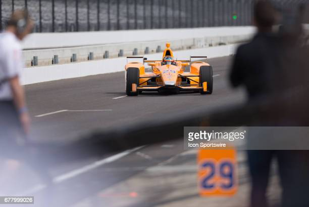 Fernando Alonso entering the pits during his first test on May 03 at the Indianapolis Motor Speedway in Speedway Indiana