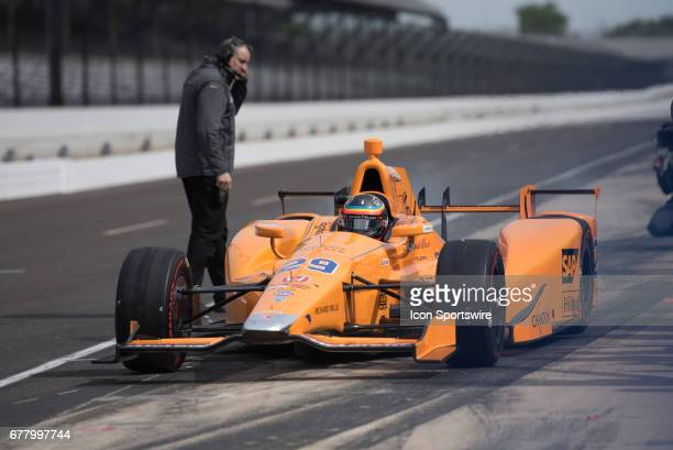 Fernando Alonso exiting the pits during his first test on May 03 at the Indianapolis Motor Speedway in Speedway Indiana