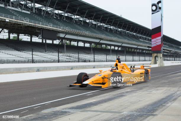 Fernando Alonso exits the pits during his first test on May 03 at the Indianapolis Motor Speedway in Speedway Indiana