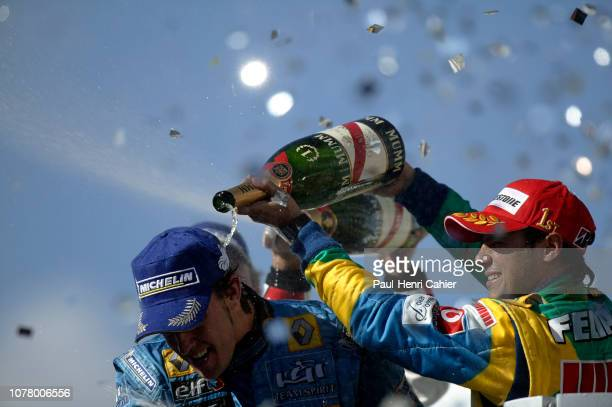 Fernando Alonso, Felipe Massa, Grand Prix of Brazil, Autodromo Jose Carlos Pace, Interlagos, Sao Paolo, 22 October 2006. Fernando Alonso celebrating...