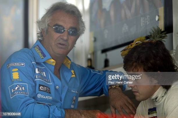 Fernando Alonso Flavio Briatore Grand Prix of France Circuit de Nevers MagnyCours 03 July 2005 Fernando Alonso with his manager Renault team manager...