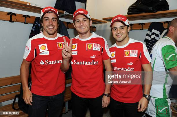 Fernando Alonso, Giancarlo Fisichella and Felipe Massa attend the XIX Partita Del Cuore charity football game at on May 25, 2010 in Modena, Italy.