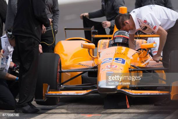 Fernando Alonso in the pits during his first test on May 03 at the Indianapolis Motor Speedway in Speedway Indiana