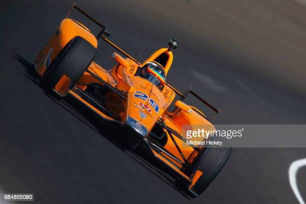 Fernando Alonso is seen during practice for the Indianapolis 500 at Indianapolis Motor Speedway on May 18 2017 in Indianapolis In
