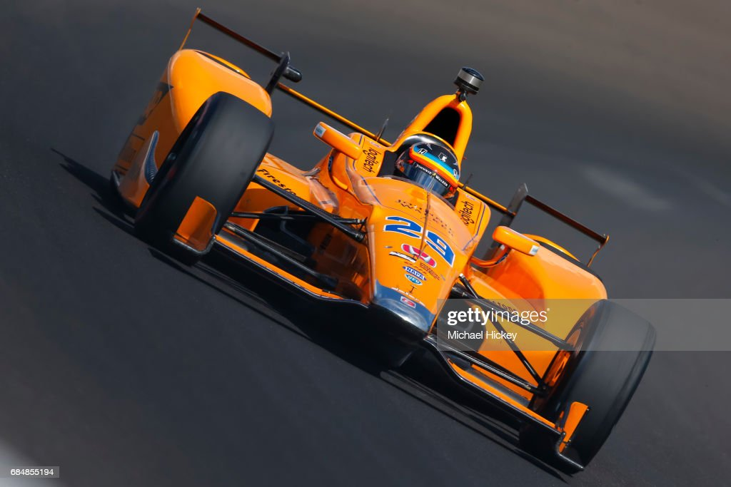 Fernando Alonso is seen during practice for the Indianapolis 500 at Indianapolis Motor Speedway on May 18, 2017 in Indianapolis, In.