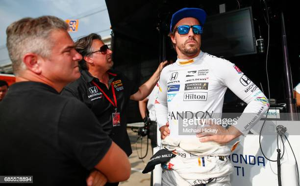Fernando Alonso is seen during practice for the Indianapolis 500 at Indianapolis Motor Speedway on May 19 2017 in Indianapolis In