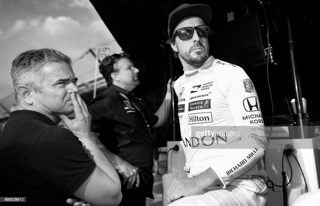 Fernando Alonso is seen during practice for the Indianapolis 500 at Indianapolis Motor Speedway on May 19, 2017 in Indianapolis, In.
