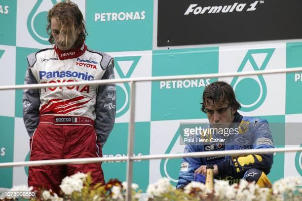Fernando Alonso Jarno Trulli Grand Prix of Malaysia Sepang International Circuit 20 March 2005 Fernando Alonso winner with Jarno Trulli who took...