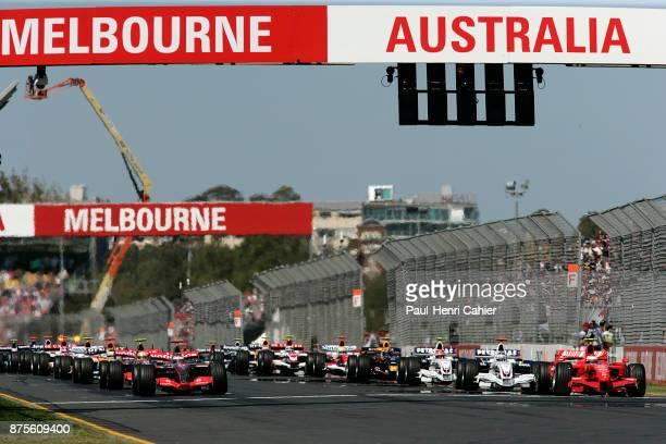 Fernando Alonso, Kimi Raikkonen, Lewis Hamilton, Nick Heidfeld, McLaren-Mercedes MP4-22, Ferrari F2007, BMW-Sauber F1.07, Grand Prix of Australia,...
