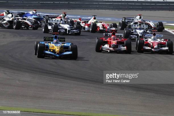 Fernando Alonso Michael Schumacher Jarno Trulli Renault R25 Ferrari F 2005 Toyota TF105 Grand Prix of Bahrain Bahrain International Circuit 03 April...