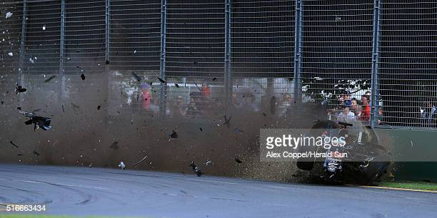 Fernando Alonso of McLaren and Spain crashes heavily during the Australian Formula One Grand Prix at Albert Park on March 20 2016 in Melbourne...