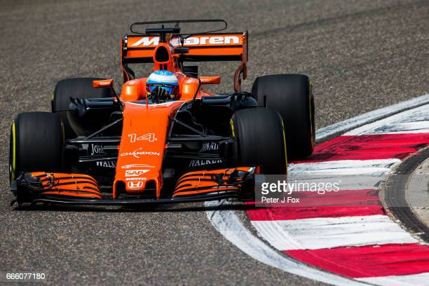 Fernando Alonso of McLaren and Spain during qualifying for the Formula One Grand Prix of China at Shanghai International Circuit on April 8 2017 in...