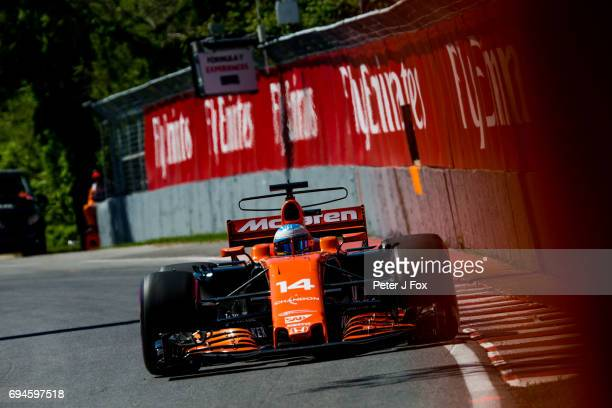 Fernando Alonso of McLaren and Spain during qualifying for the Canadian Formula One Grand Prix at Circuit Gilles Villeneuve on June 10 2017 in...