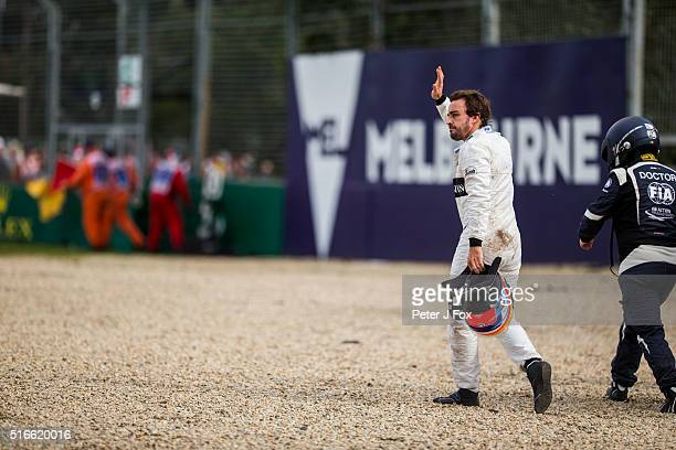 Fernando Alonso of McLaren and Spain immediately after his crash during the Australian Formula One Grand Prix at Albert Park on March 20 2016 in...