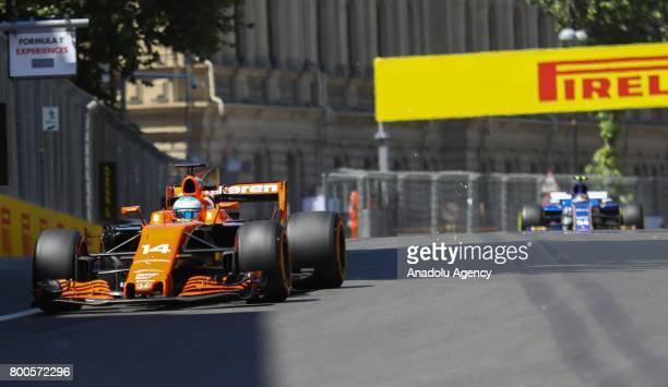 Fernando Alonso of McLaren Honda attends free practice of 2017 Formula 1 Azerbaijan Grand Prix in Baku Azerbaijan on June 24 2017 Formula 1 Grand...