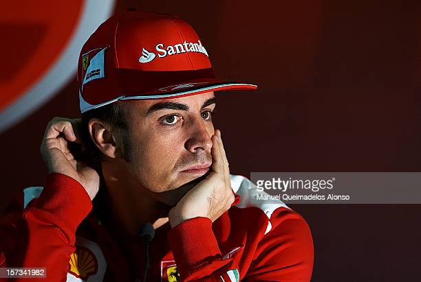 Fernando Alonso of Spain and Ferrari attends a press conference during the Ferrari Challenge of the Finali Mondiali, at the Ricardo Tormo on December...