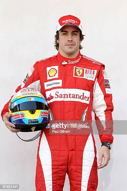 Fernando Alonso of Spain and Ferrari attends the drivers official portrait session during previews to the Bahrain Formula One Grand Prix at the...