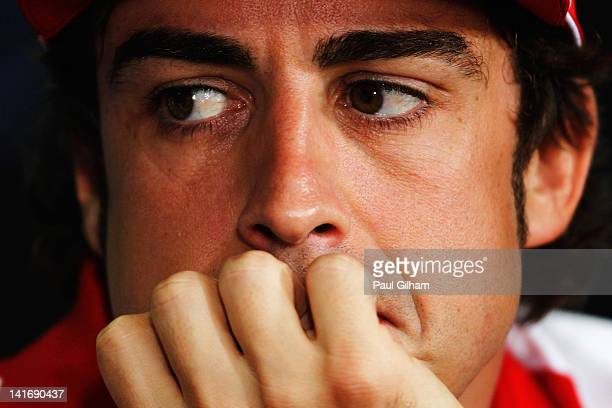 Fernando Alonso of Spain and Ferrari attends the drivers press conference during previews to the Malaysian Formula One Grand Prix at the Sepang...