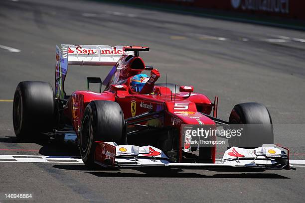 Fernando Alonso of Spain and Ferrari celebrates as he crosses the finish line to win the European Grand Prix at the Valencia Street Circuit on June...