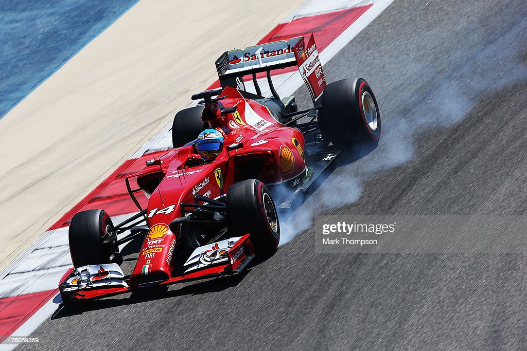 Fernando Alonso of Spain and Ferrari drives during day four of Formula One Winter Testing at the Bahrain International Circuit on March 2, 2014 in Bahrain, Bahrain.