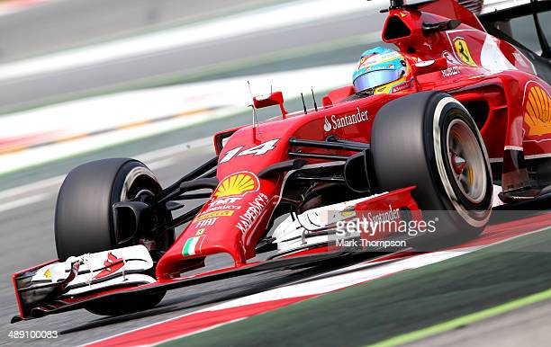 Fernando Alonso of Spain and Ferrari drives during final practice ahead of the Spanish F1 Grand Prix at Circuit de Catalunya on May 10 2014 in...