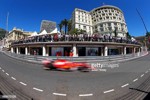 Fernando Alonso of Spain and Ferrari drives during final practice ahead of the Monaco Formula One Grand Prix at Circuit de Monaco on May 24 2014 in...