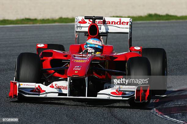 Fernando Alonso of Spain and Ferrari drives during Formula One winter testing at the Circuit De Catalunya on February 26, 2010 in Barcelona, Spain.