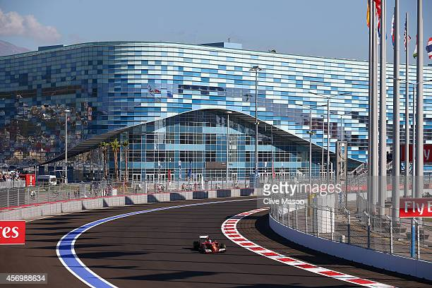 Fernando Alonso of Spain and Ferrari drives during practice ahead of the Russian Formula One Grand Prix at Sochi Autodrom on October 10 2014 in Sochi...