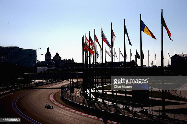 Fernando Alonso of Spain and Ferrari drives during practice ahead of the Russian Formula One Grand Prix at Sochi Autodrom on October 10, 2014 in...