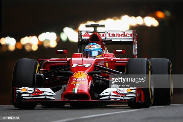 Fernando Alonso of Spain and Ferrari drives during practice ahead of the Monaco Formula One Grand Prix at Circuit de Monaco on May 22 2014 in...