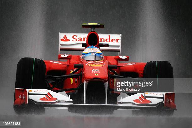 Fernando Alonso of Spain and Ferrari drives during practice for the Belgian Formula One Grand Prix at the Circuit of Spa Francorchamps on August 27,...