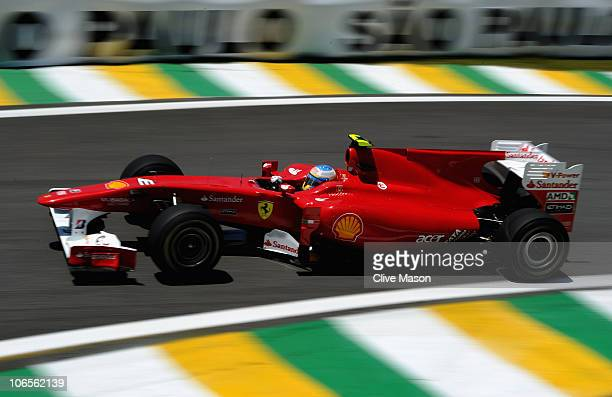 Fernando Alonso of Spain and Ferrari drives during practice for the Brazilian Formula One Grand Prix at the Interlagos Circuit on November 5 2010 in...