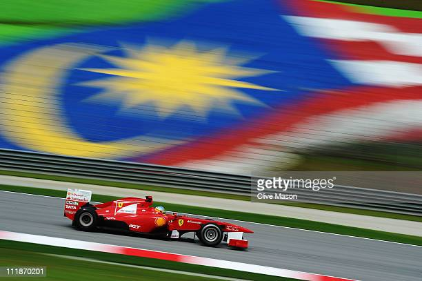Fernando Alonso of Spain and Ferrari drives during practice for the Malaysian Formula One Grand Prix at the Sepang Circuit on April 8 2011 in Kuala...