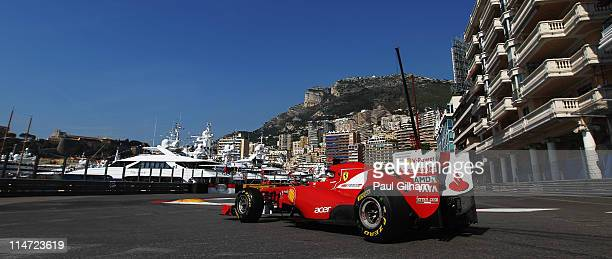 Fernando Alonso of Spain and Ferrari drives during practice for the Monaco Formula One Grand Prix at the Monte Carlo Circuit on May 26 2011 in Monte...